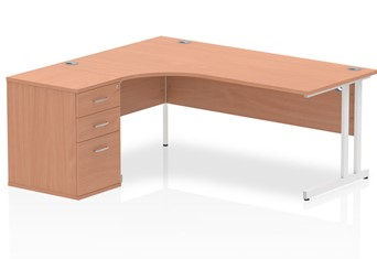 Price Point Corner Cantilever Workstation - Left handed 1600mm
