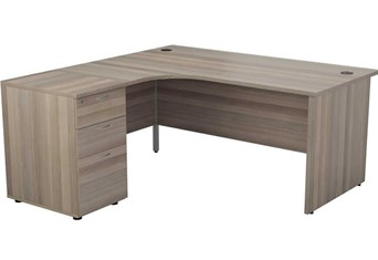 Kestral Grey Oak Corner Panel Desk And Pedestal - Left Handed 1600mm