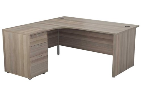 Kestral Grey Oak Corner Panel Desk And Pedestal