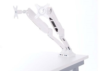 White Double Monitor Arm - White