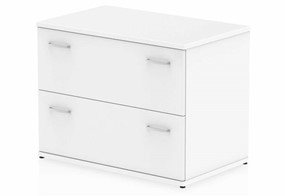 Polar White 2 Drawer Desk High Side Filer