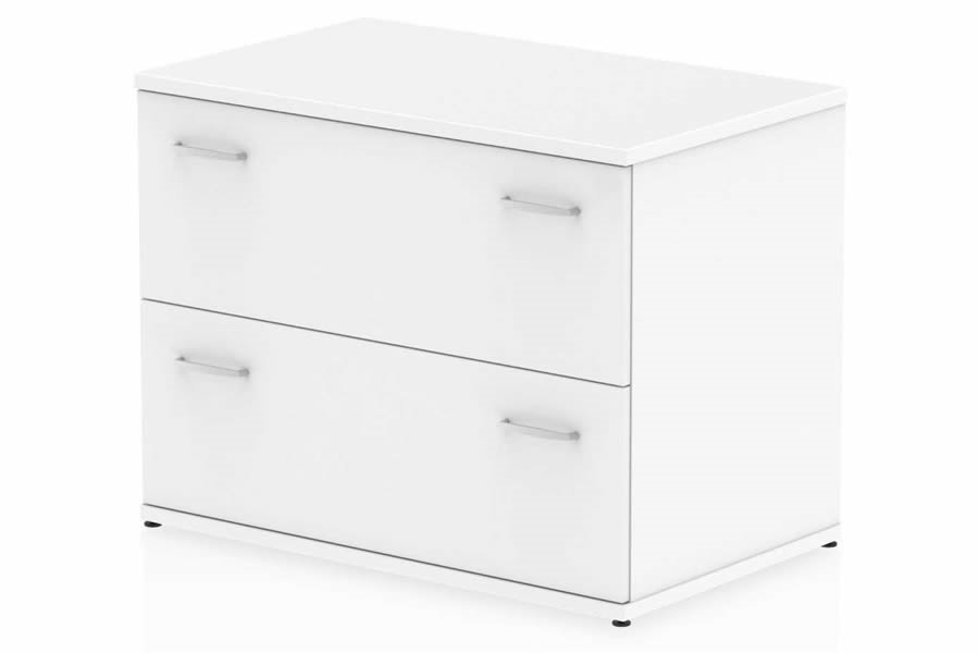 White Two Drawer Desk High Side Filer