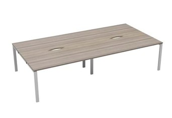 Kestral Grey Oak 4 Person Bench Desk - 1200mm Silver