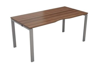 Kestral Dark Walnut Single Bench Desk - 1200mm Silver