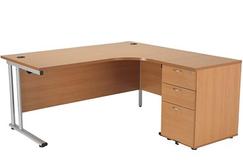 Kestral Beech Corner Desk And Pedestal - Right Handed 1600mm