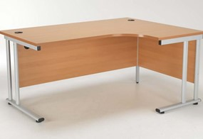 Kestral Beech Cantilever Crescent Workstation - Right Handed 1600mm Silver