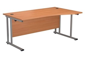 Kestral Beech Wave Cantilever Desk - 1600mm Wide Right Handed Silver