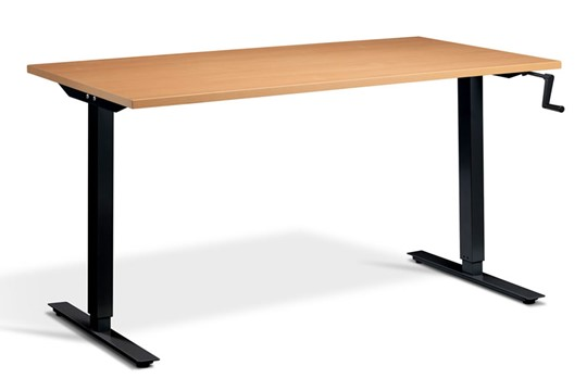 Solo Hand Crank Rectangular Height Adjustable Desk