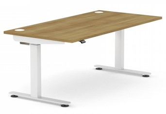 Sit Stand Rectangular Desk - W1400 x D800mm White White