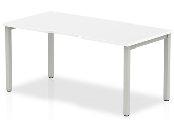Portland Single Desk - 1200mm White Silver