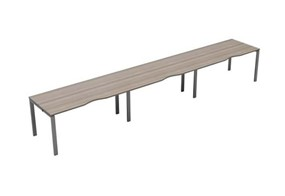Kestral Grey Oak Single 3 Person Bench Desk - 1200mm Silver