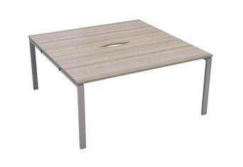 Kestral Grey Oak 2 Person Bench Desk - 1200mm Silver