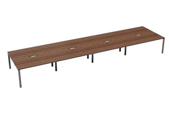 Kestral Dark Walnut 8 Person Bench Desk - 1200mm Silver
