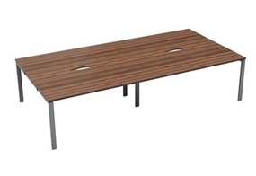 Kestral Dark Walnut 4 Person Bench Desk - 1200mm Silver