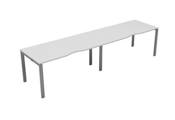 Kestral White Single 2 Person Bench Desk - 1200mm Silver