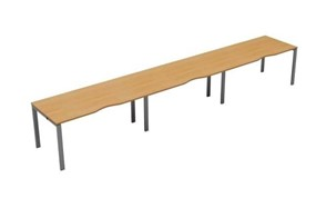 Kestral Single 3 Person Bench Desk - 1200mm Beech Silver