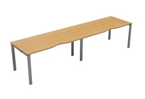 Kestral Single 2 Person Bench Desk - 1200mm Beech Silver
