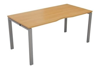 Kestral Single Bench Desk - 1200mm Beech Silver