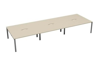 Kestral Maple 6 Person Bench Desk - 1200mm Silver