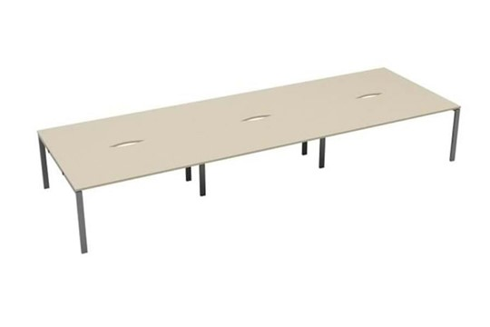 Kestral Maple 6 Person Double Bench Desk