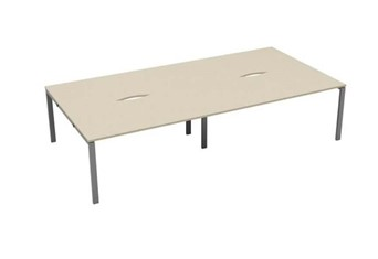 Kestral Maple 4 Person Bench Desk - 1200mm Silver