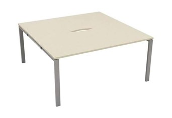 Kestral Maple 2 Person Bench Desk - 1200mm Silver