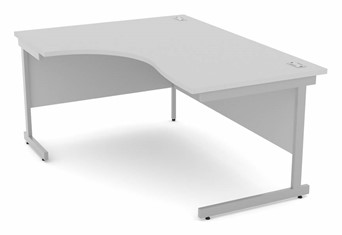 Cloud Grey Corner Cantilever Desk - Left Handed