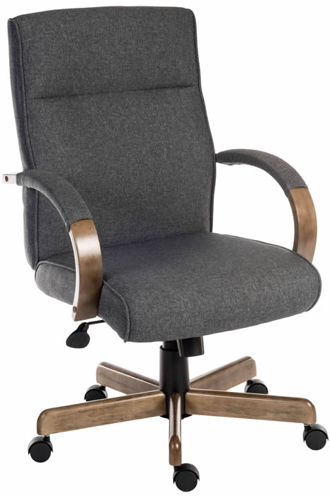 Grey Fabric Office Chair Driftwood, Grey Fabric Desk Chair With Arms