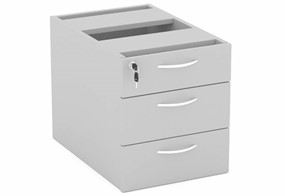 Cloud Grey Fixed Pedestal - Three Drawers