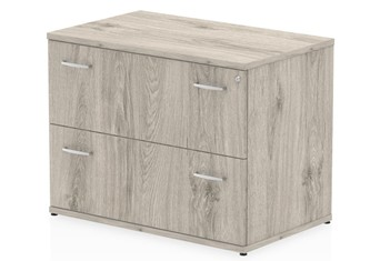 Gladstone Grey Oak 2 Drawer Desk High Side Filer