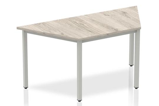Gladstone Grey Oak Trapezium Table 1600 Box Frame Leg Silver