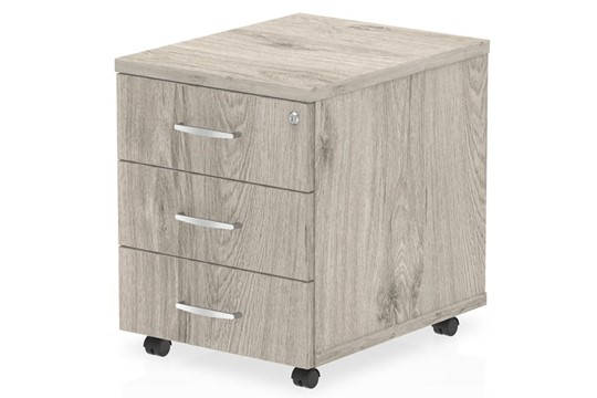 Gladstone Grey Oak 3 Drawer Mobile Pedestal