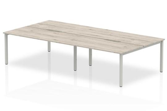 Gladstone Grey Oak 4 Person Double Bench Desk