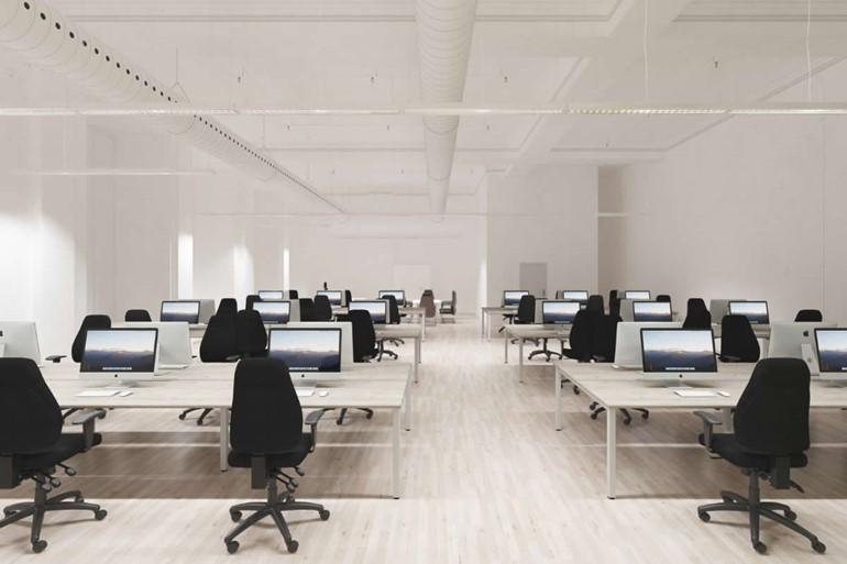 Gladstone Grey Oak Desk High Office Cupboard