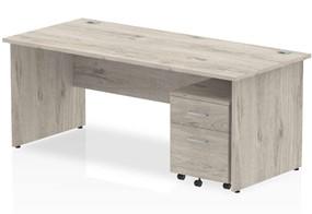 Gladstone Grey Oak Straight Panel Desk And Pedestal