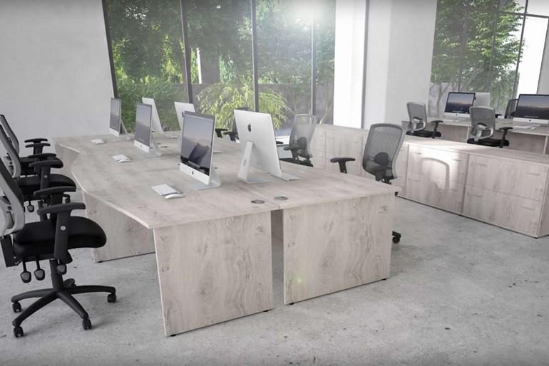 Gladstone Grey Oak Corner Panel Desk And Pedestal