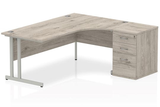 Gladstone Grey Oak Corner Desk And Pedestal