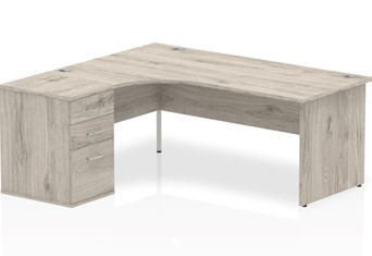 Gladstone Grey Oak Corner Panel Desk And Pedestal - 1800mm Left Handed