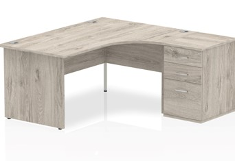 Gladstone Grey Oak Corner Panel Desk And Pedestal - 1600mm Right Handed