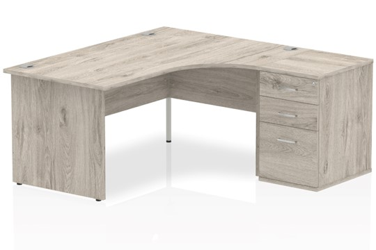 Gladstone Grey Oak Corner Panel Desk And Pedestal