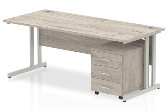 Gladstone Grey Oak Straight Desk And Pedestal