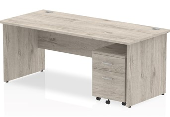 Gladstone Grey Oak Straight Panel Desk And Pedestal - 1200mm 2 Drawer