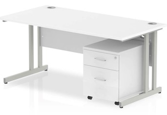 Polar Straight Desk And Pedestal - 1200mm 2 Drawer