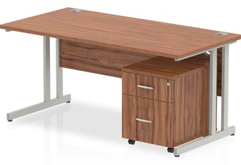 Nova Walnut Desk And Pedestal - 1200mm 2 Drawer