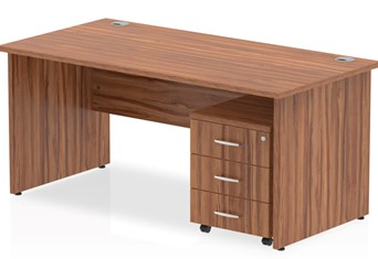 Nova Walnut Panel Desk And Pedestal - 1200mm 2 Drawer