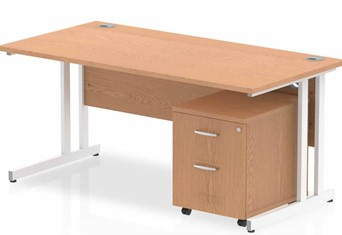 Norton Oak Straight Desk And Pedestal - 1200mm Wide 2 Drawer Option