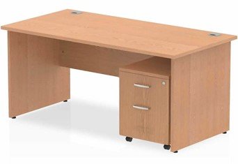 Norton Oak Panel Desk And Pedestal - 1200mm Wide 2 Drawer Option