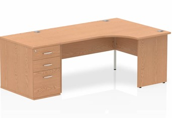 Norton Oak Corner Panel Desk And Pedestal - 1600mm Wide Left Handed