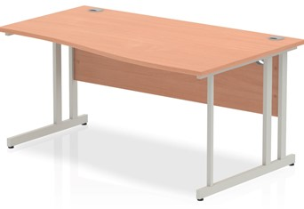Price Point Cantilever Beech Wave Desk - Right Handed 1400mm x 600mm
