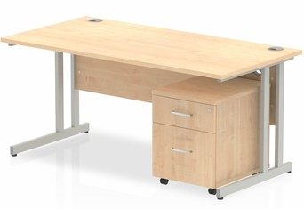 Solar Straight Desk And Pedestal - 1200mm Wide 2 Drawer